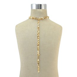 Wholesale British Necklace - idealway New 2 color Fashion Jewelry Silver Gold Plated Pendant Long Chain Choker Necklace For Women British Style 12 Pieces lot