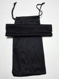 Sacos limpos on-line-Sunglasse preto bolsa de pano de limpeza macio óculos saco de óculos caso mulheres e homem óculos de sol sacos + pano freeshipping 20 pçs / lote 17.5 * 9 cm