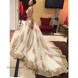estilo muçulmano vestido de festa Desconto Muçulmano vestido de Baile De Luxo Longo Vestido de Baile Saudita Estilo Árabe Manga Comprida Formal Vestido de Festa À Noite Custom Made Plus Size