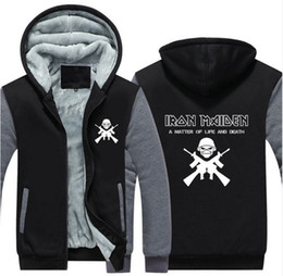Wholesale Usa Iron - Wholesale- 2017 Iron Maiden Unisex Adult Thicken Hoodie Zipper Coat Jacket Sweatshirts USA SIZE