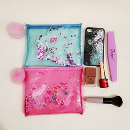 Wholesale Eco Make Up Brushes - Jelly Cosmetic Bag For Make up brushes Sets Transparent Sequins Handbag Waterproof Case Women PVC Pouch Travel Toiletry Bag