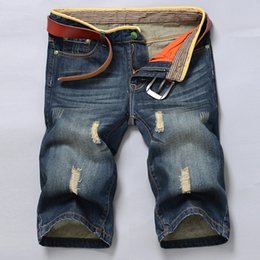 Wholesale Youth Pants Wholesale - Wholesale- XT1061 2017 summer new men's pants cowboy youth hole in restoring ancient ways in five minutes of jeans cheap wholesale