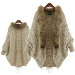 Wholesale Poncho Tricot - Wholesale-Fur Collar Winter Cardigan Pull Femme Batwing Poncho Outerwear Tricot Women Sweater Knitted New Brand Casual Knitwear Jacket S21