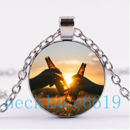 Wholesale beer charm silver - 10Pcs Cheers Beer Necklace Pendant,Christmas Gift,birthday Gift,Cabochon Glass Necklace,silver black Fashion Jewelry DJ-85