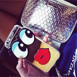 Wholesale Sexy Lips Iphone Case - Cute Mirror 3D Big Eyes With Sexy Red Lip Acrylic Shell Phone Case Cover Skin For iPhone 7 6 6S Plus 4.7 5.5 inch 5 5S Free Ship MOQ:10pcs