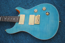 Wholesale solid body guitar making - custom 22 blue electric guitar Direct Manufacturer sell good guitar with floyed rose you can custom-made