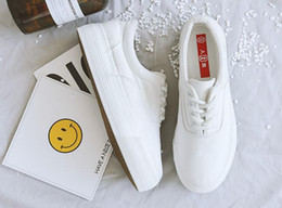 Wholesale Thick Elastic Bands - Canvas shoes female street autumn thick soles muffin white shoes increased tide female