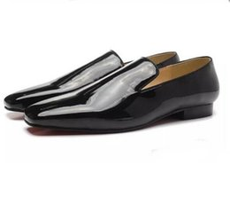 Wholesale Mens Wedding Shoes Patent Leather - New 2017 Mens Women Square Toe Red Bottom Loafers,Designer Brand Black Patent Leather Business Wedding Dress Shoes,Fashion Men Oxfords 35-46