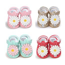 Wholesale Flower Wrapping Materials - 2017 Summer Baby Girl Flower Sandals Hollow out Quality PU Material Soft Sole First Walker Shoes