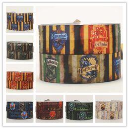 "Wholesale Grosgrain Ribbon 22mm - 22mm 7 8"" Harry Potter logo printed cartoon gift hairbow grosgrain ribbon tape 10yards lot"