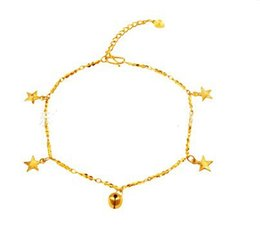 Wholesale 24k Ladies Plating Jewelry - Cute style girls foot Jewelry stars pendants charm chain 24k yellow gold filled links Anklets for women lady