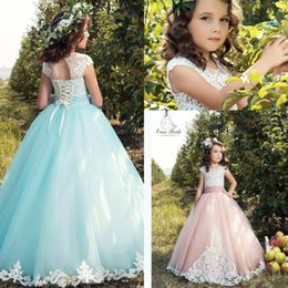 Wholesale Christmas Light Photos - Princess Mint Flower Girl Dresses 2017 Cap Sleeves White Lace Appliqued Corset Back A Line Tulle First Communion Dress Cheap Toddler Dress