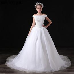 robe à thé audrey Promotion Nouvelle arrivée blanc hors épaule robes de mariée paillettes perlée tulle élégance robes de mariée sur mesure faites robes de mariée A033