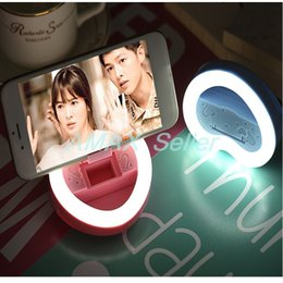 Wholesale Line Luxury Heart - heart shape selfie light Rechargeable luxury Smart Phone LED Flash Light Up Luminous Phone Ring with USB charging line cable cute mini gift