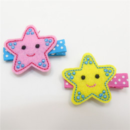Wholesale Starfish Hairpins - 10pcs lot Felt Starfish Hair Clips No Slip Embroidery Twinkle Star Beach Hairpin Kid Dots Girls Barrettes Smiley Face Grips