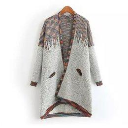Wholesale Vintage Cashmere Sweater Women - Wholesale- Autumn Long Sweater Women Cardigan Feminino Fashion Vintage Cashmere Color line Knit Sweaters Jacket Sueter Mujer