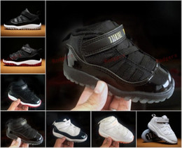 """Wholesale Baby Boys Winter Boots - Cheap Retro (11)XI Low """"Bred"""" Black Red Legend Blue Kid Basketball Shoes White Citrus Sports Trainers Children Shoes Boy Baby Sneakers"""