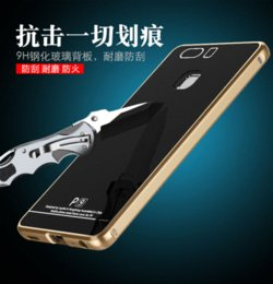 Wholesale Huawei Gorilla - For Huawei P9 Case Luxury Aluminum Metal Frame+ 9H Gorilla Tempered Glass Cover Set For For Huawei P9 Original Mobile Phone Case