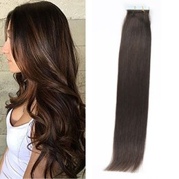 Wholesale Human Glue Skin - Top Quality 20pcs set 24inch straight Glue Skin Weft PU Tape in Human Hair Extensions Brazilian REMY in stock free shipping