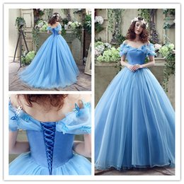 Wholesale Cinderella Plus Prom - Sweet 15 Blue Beads Quinceanera Dress Christmas Cinderella Dance Ball Women Evening Prom Catwalk Pageant Celebrity Party Bridal Gowns 26240