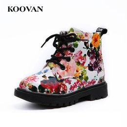 Wholesale Kids Boots Size 12 - Martin Boots Kids Boots 2017 New Autumn Winter Flower Boots High Quality Little Girl Shoes Free Ship Size 21-30 K 058