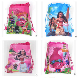 Wholesale Girls Kids Bags - Drawstring Bags Trolls Moana Cartoon Non Woven Sling Bag Kids Backpacks School Bags Girls Party Gift Bag Birthday DHL Free Shipping