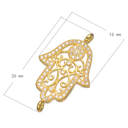 Wholesale Hamsa Connector Charms - Wholesale-2016 Gold Hand Jewelry Accessories Fashion Zircon Hamsa Hand Connectors For Jewelry Making