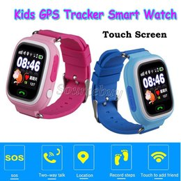 Wholesale Gift Boxed Watches For Children - Xmas Gift For Kids Children GPS Smart Kid Watch SOS LBS Location Tracker Wifi Touch Screen SIM Slot Wristwatch Q90 Present Retail Box