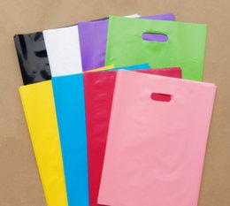 Wholesale Black Wedding Gift Bags - 100pcs 20*26cm Small Pure Plain Color Plastic Bags , Thick Shopping Jewelry Packaging Plastic Wedding Gift Bags 7 colors for choose