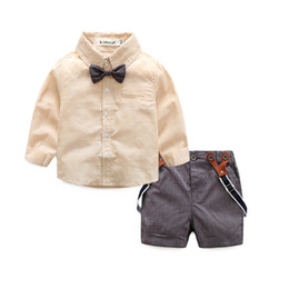 Wholesale Shorts For Toddler Boys - wholesale 2016 kids boys gentleman clothes baby 2 pieces clothing toddler autumn sets children blouse shorts suit for 70-95