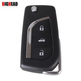Wholesale Toyota Corolla Blank Key - BIGHEAD 3 Buttons Car Flip Folding Key Shell Blank Remote Fob Case For Toyota Corolla EX New VIOS Key Toy43 Blade with LOGO