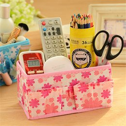 Wholesale Desktop Storage Containers - Flower Print Foldable Cosmetic Makeup Storage Box Desktop Bag Stationary Container For Women Girls High Quality Factory Wholesale
