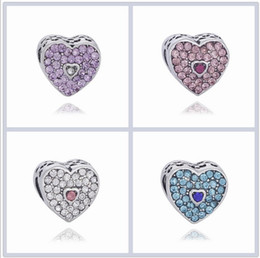 Wholesale faceted necklace - Fits Pandora Bracelets 10pcs Double Faceted CrystalHeart Diamond Charm Bead Loose Beads For Wholesale Diy European Sterling Necklace Jewelry