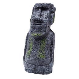 Wholesale Mini Plastic Fish Tanks - Easter Island Mini Statue Accessory Pipe Fish Tank Aquarium Decoration Ornament