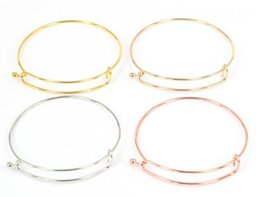 Wholesale Gold Fish Hook Bracelet - Fashioon Silver Tone Copper Expandable Wire Bangle Bracelet Diameter 6.5cm For Beads Or Charms Wholesale 40pcs lot with Free Shipping