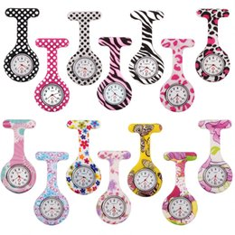 Wholesale Hang Tags Printing - Colorful Printed Hanging Quartz Watch Nurses Watch Doctor Portable Fob Silicone Tunic Batteries Medical Nurse Lady Quartz Watch