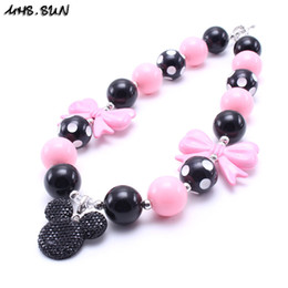 Wholesale Resin Cartoon Pendants - MHS.SUN Lovely Mikey Kid Chunky Necklace Cartoon Pendant Toddlers Girls Bubblegum Bead Chunky Necklace Jewelry Gift For Children