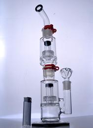 matrice minuti Sconti Bong in vetro grande e inebriante con Matrix Perc Spessa Birdcage Perc Bong estraibile rimovibile Dab Rig con clip Foro da 18 mm