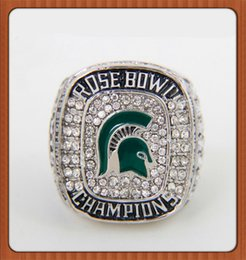 Wholesale Football World Series - Lowest Price Big Ten 2013 Michigan State Spartans Football Rose Bowl Championship Ring Silver Plated World Series Alloy Rings