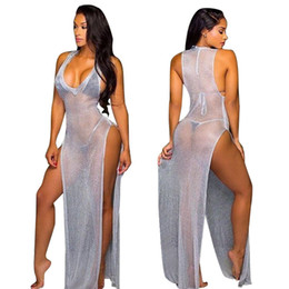 Wholesale Women S Transparent Dresses - Woman Summer Solid Color Sexy Club Side Split Transparent Mesh Splicing Package Hip V Neck Sleeveless Beach Long Dress