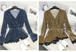 Wholesale women velvet blouse - 2017 new design women's v-neck velvet slim waist lacing top flare sleeve lace patchwork asymmetric shirt blouse