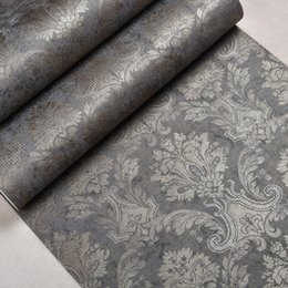 Wholesale Victorian Wood - Wholesale-Classic Victorian Vintage Flocked Damask Wallpaper For Living Room