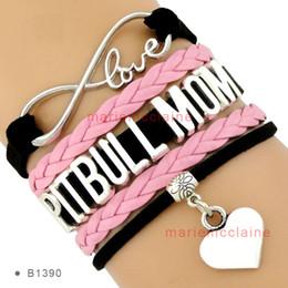 Wholesale Dropshipping Bracelet - Dropshipping High Quality Infinity Love Pitbull Mom Heart Charm Bracelet Women's Fashion Wrap Adjustable Bracelet Black Pink Custom