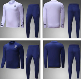 Wholesale Blue Sweater Set - 2017 2018 Juuventus white soccer tracksuits deep blue football suits men's full sleeve outdoor training set adult's sports sweater and pants