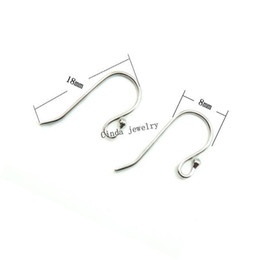 Wholesale Silver Hooks For Earrings - 925 Sterling Silver Earring Hooks Jewelry Findings Components For DIY Craft Jewelry 18mm 10pairs lot Free Shipping W045