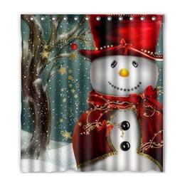 Cortina de navidad de diseño online-Árbol de navidad muñeco de nieve diseño de Santa Claus de tela de poliéster impermeable baño cortinas de ducha con 12 ganchos 165 * 180 cm ZA3893