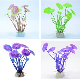 Wholesale Grass Ornaments - Hot Sell 1 PC Plastic Lotus leaf Grass Plants Artificial Aquarium Decorations Plants Fish Tank Grass Flower Ornament Decor