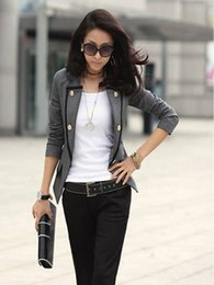 Wholesale Ladies Cashmere Blazer - Autumn new double - breasted suit OL long - sleeved commuter Cashmere slim lady jacket
