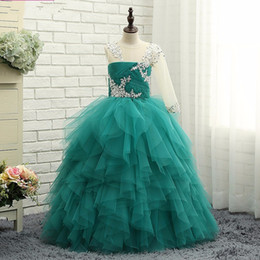 Wholesale Turquoise Ball Gowns Sleeves - Turquoise Tulle Ball Gown Little Girls Pageant Dresses 2017 With One Shoulder Long Sleeves Ruffles Tulle Princess Litrle Girls Formal Party