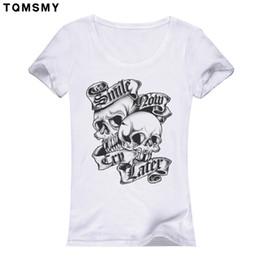 Wholesale Female Skull Shirts - Wholesale-Hot Sale 2016 Fashion Women T-shirt Slower Suger Skull Punk T shirt Summer Tops For Female Clothing Rose skull tshirts women